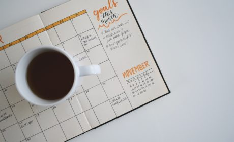 coffee cup and diary to represent goal and objective setting