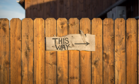 fence with 'this way' sign