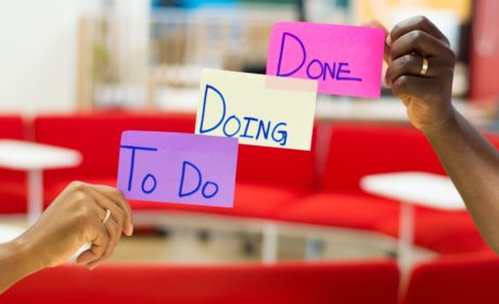 Post-its with To Do, Doing and Done