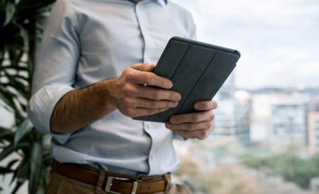 person looking at iPad